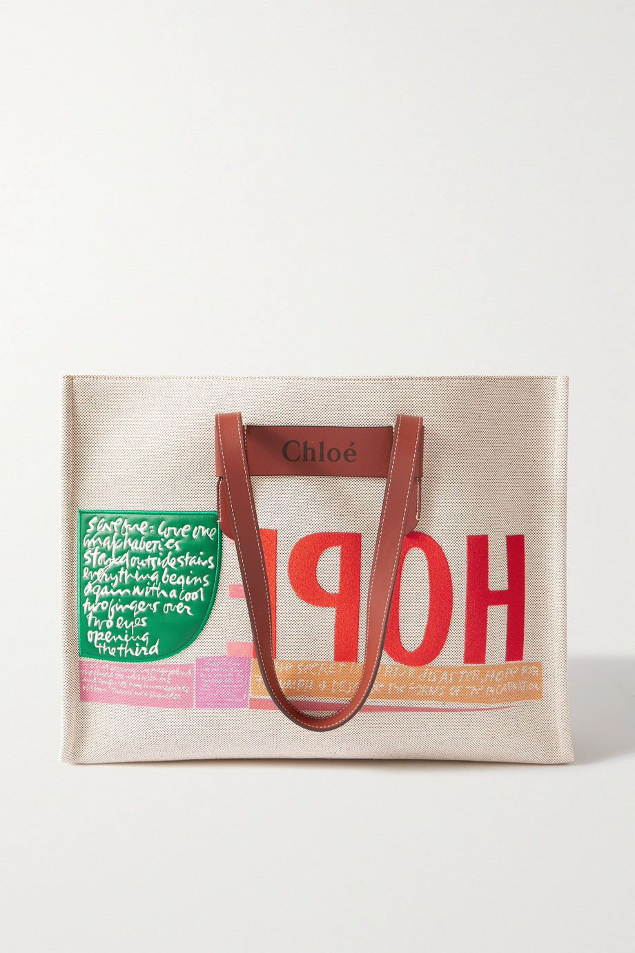 CHLOÉ + Corita Kent large leather-trimmed printed canvas tote