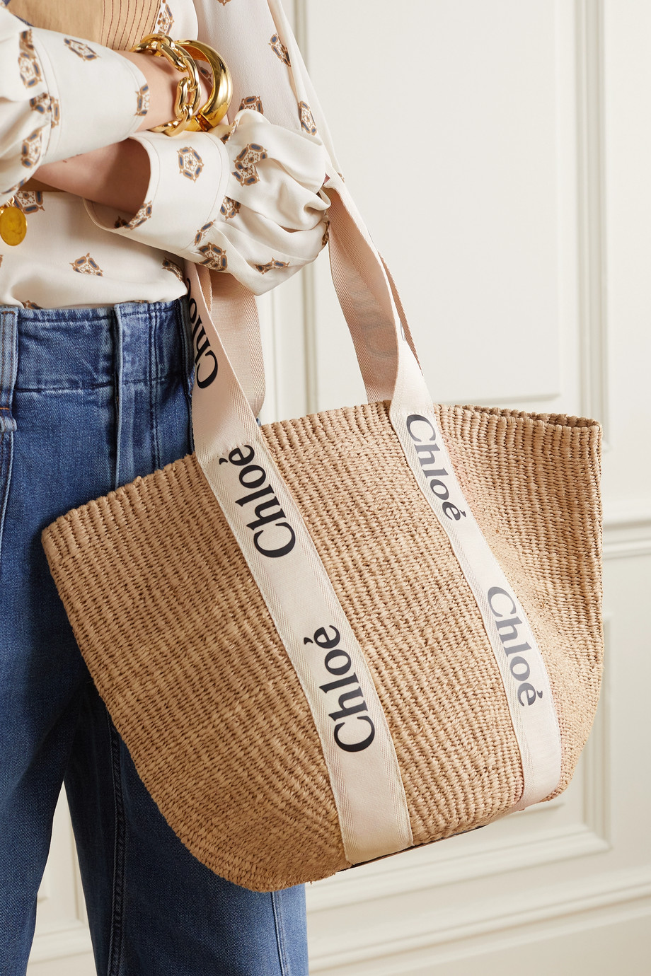 CHLOÉ Woody large printed canvas and leather-trimmed raffia basket bag