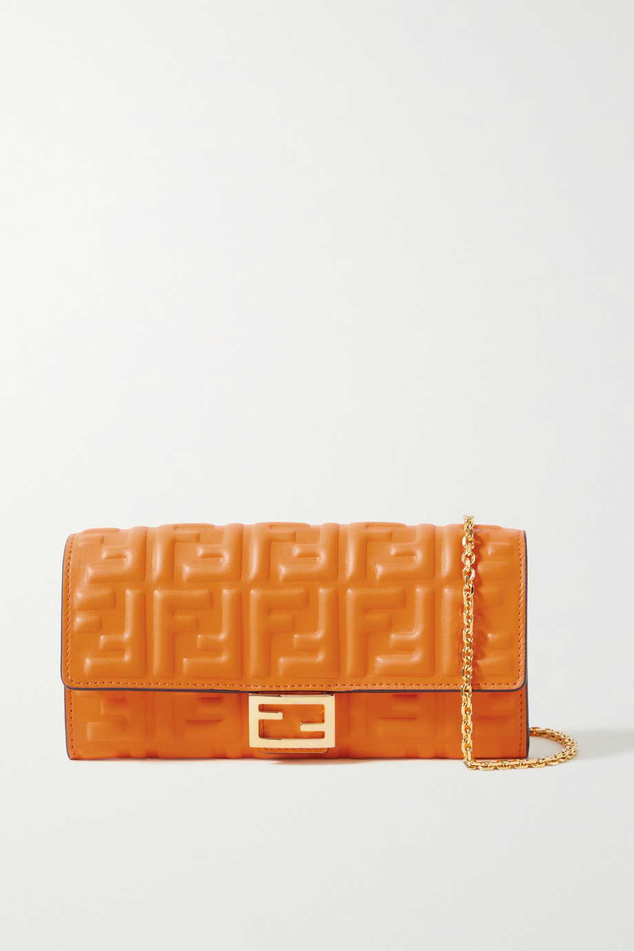 FENDI Baguette embossed leather clutch