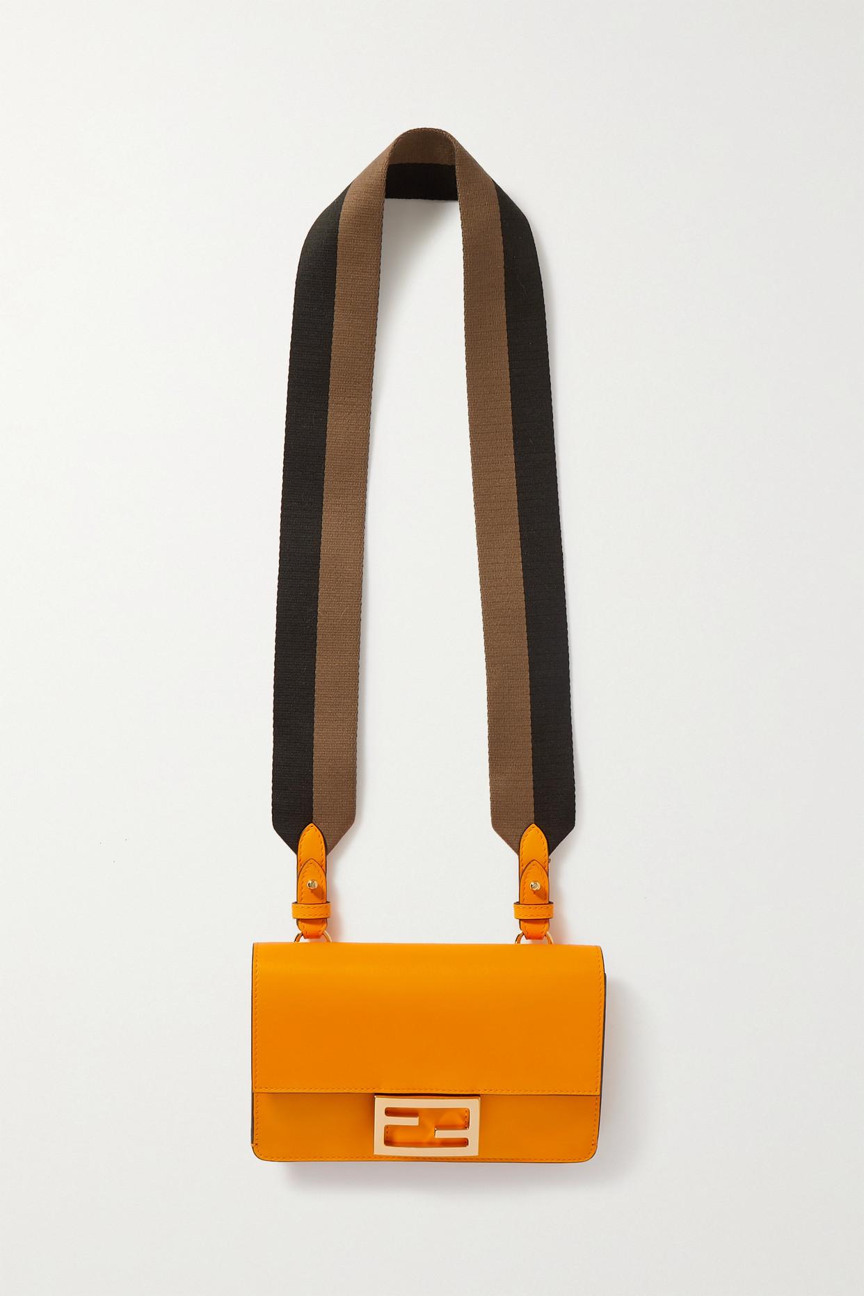 FENDI - Flat Baguette Medium Leather Shoulder Bag - Orange - one size