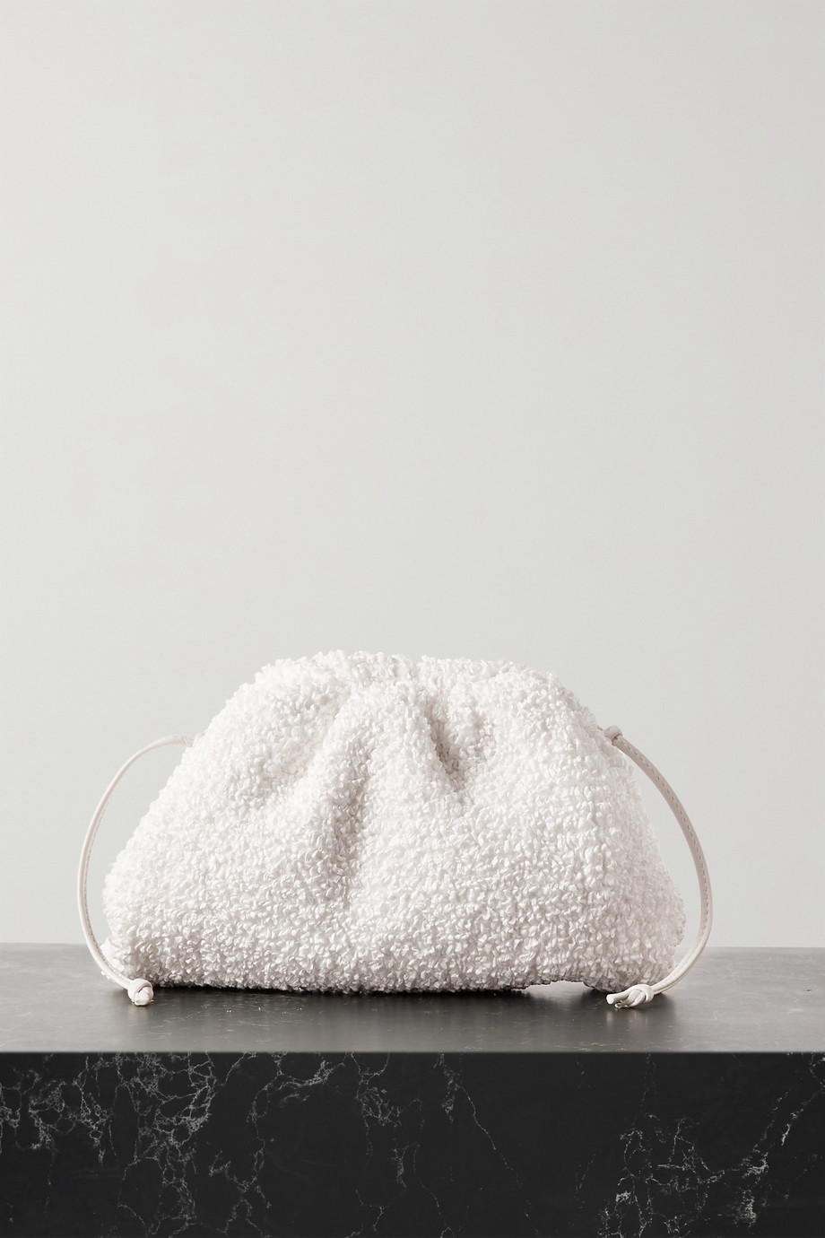 BOTTEGA VENETA The Pouch small leather-trimmed gathered bouclé clutch