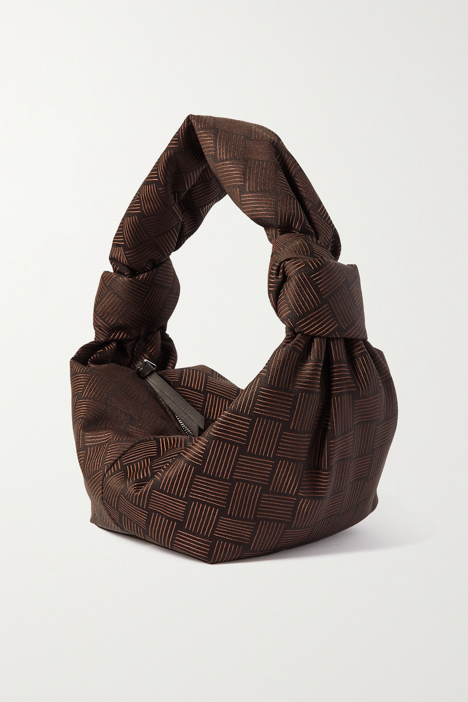 BOTTEGA VENETA Jodie mini knotted leather-trimmed jacquard tote