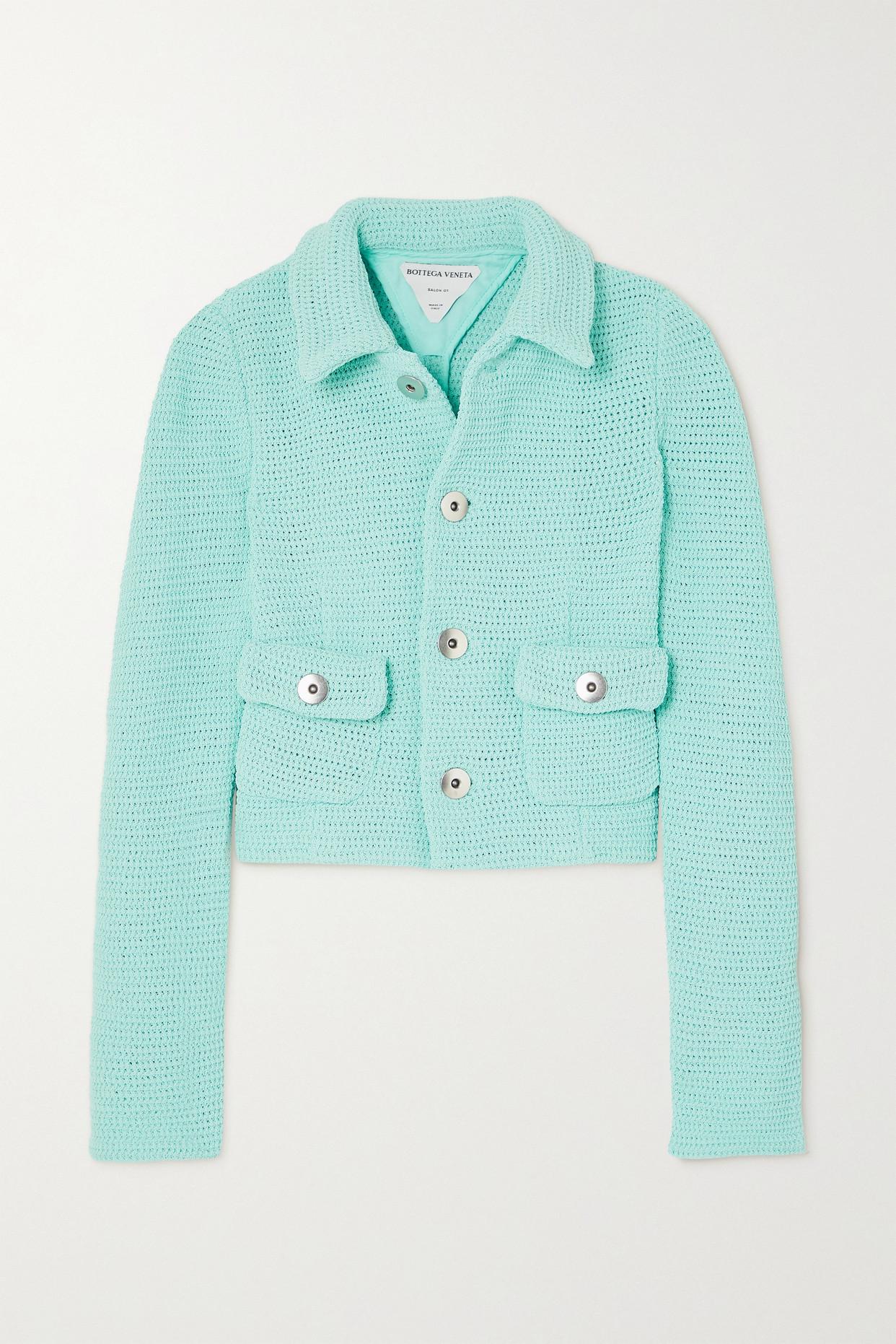 BOTTEGA VENETA - Cropped Open-knit Cotton-blend Jacket - Blue - IT38