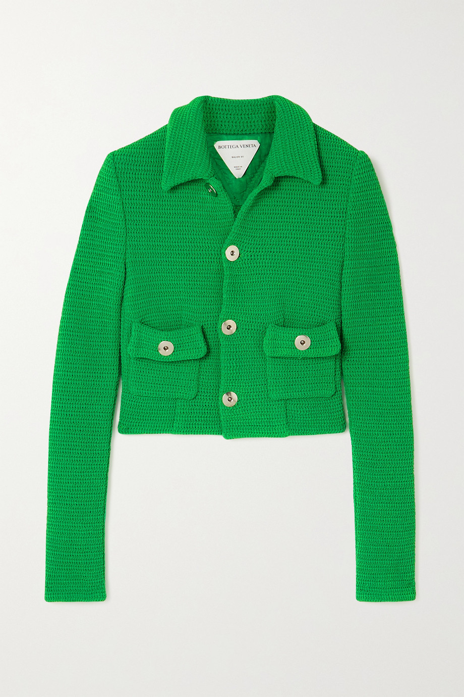 BOTTEGA VENETA Cropped open-knit cotton-blend jacket