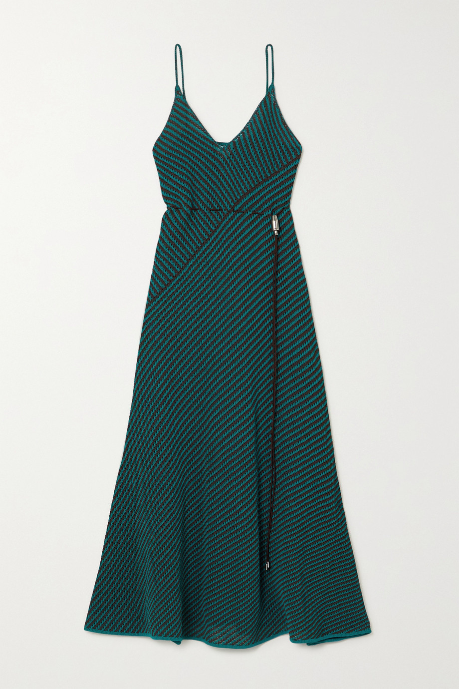 BOTTEGA VENETA Striped open-knit cotton-blend maxi dress