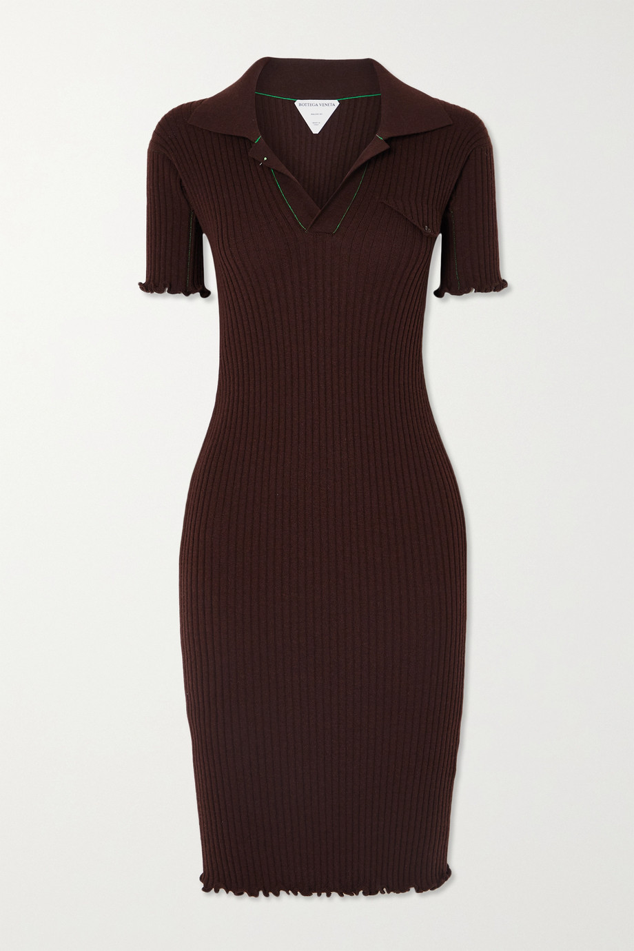 BOTTEGA VENETA Ruffled ribbed wool dress