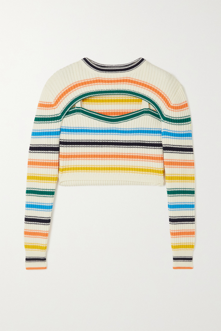 ROSIE ASSOULIN Thousand-In-One-Ways convertible cropped striped ribbed merino wool-blend sweater