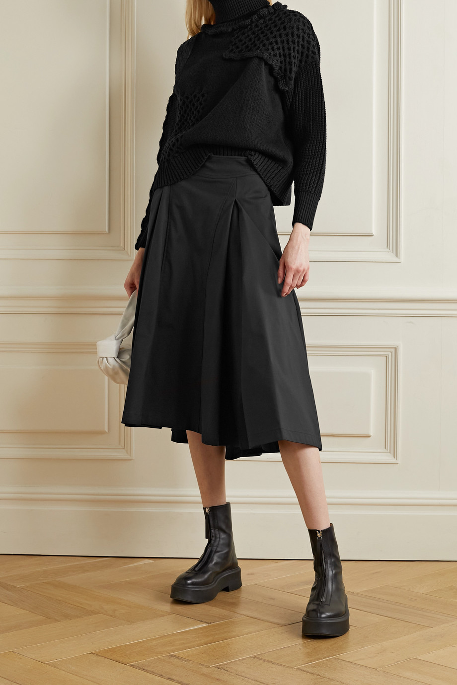 CECILIE BAHNSEN Paneled satin-jacquard and cotton sweater
