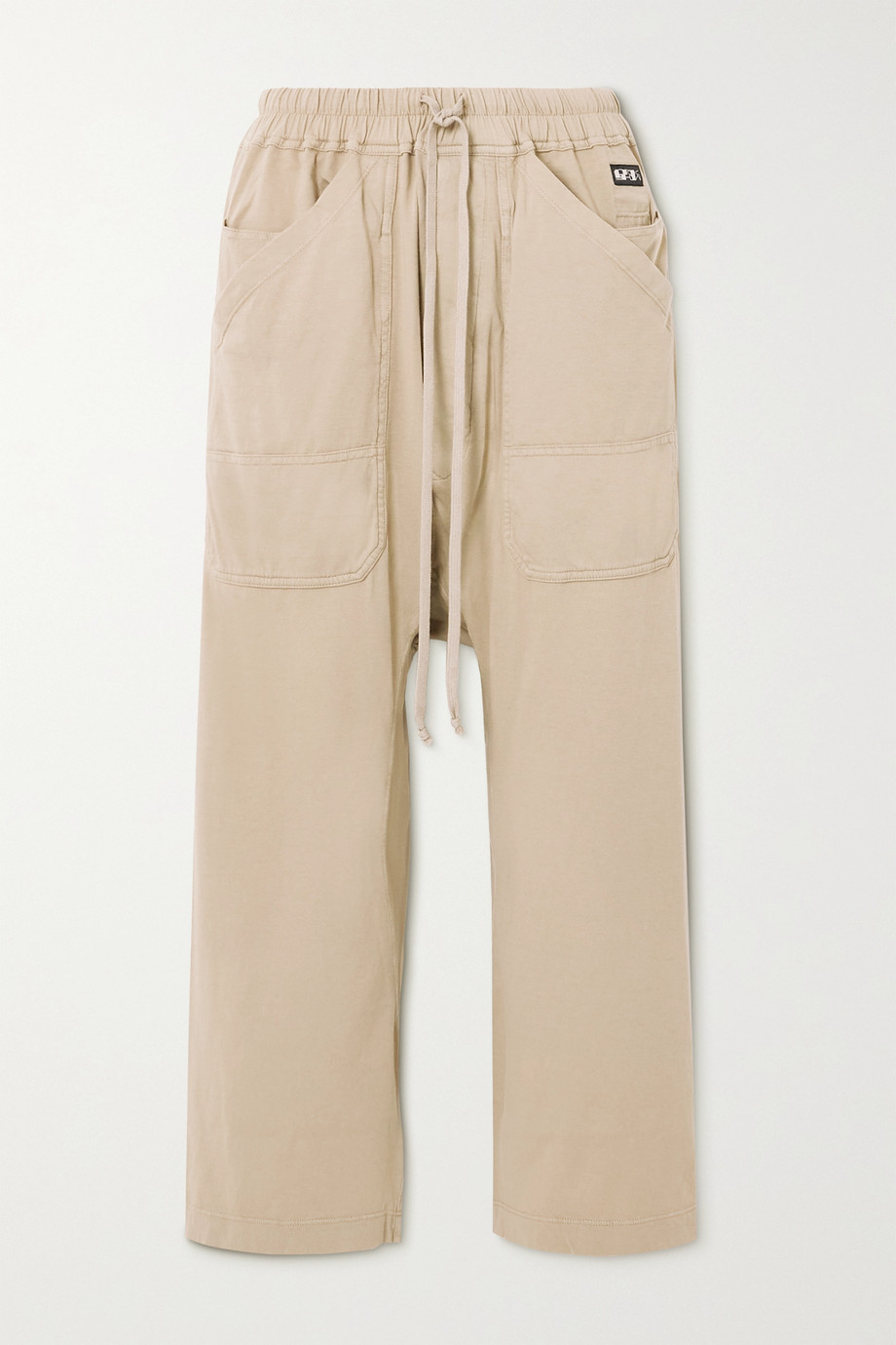 RICK OWENS Appliquéd cotton-jersey track pants