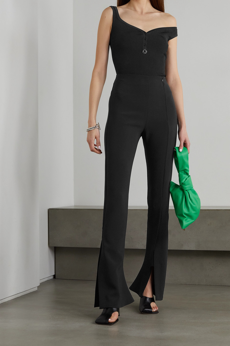 COPERNI One-shoulder embellished ribbed-knit bodysuit