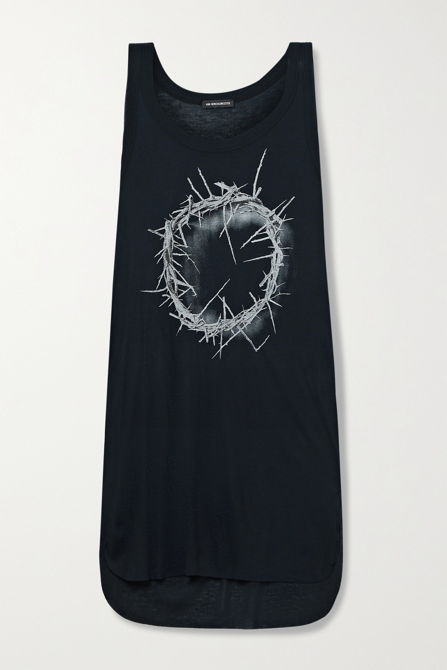 ANN DEMEULEMEESTER Ribbed printed stretch-jersey tank
