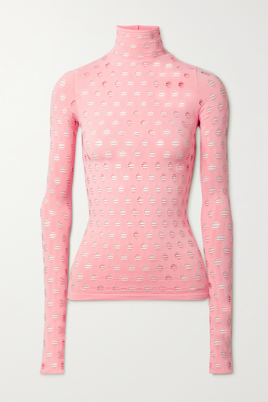 Maisie Wilen Perforated stretch-jersey turtleneck top