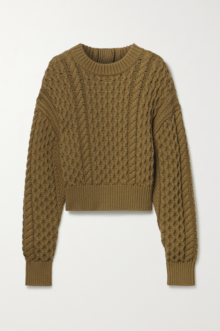 PROENZA SCHOULER WHITE LABEL Button-detailed cable-knit wool and cotton-blend sweater