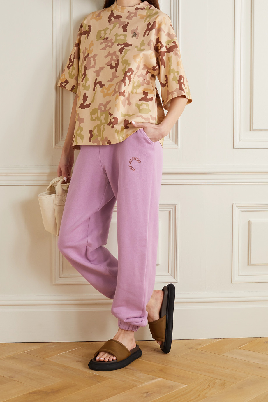 THE ATTICO Peggy printed cotton-jersey track pants