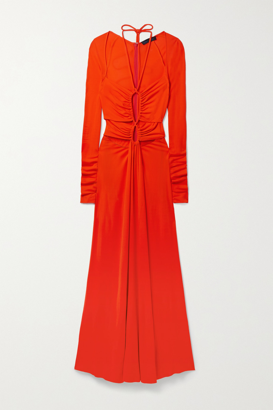 PROENZA SCHOULER Tie-detailed cutout ruched matte-jersey maxi dress