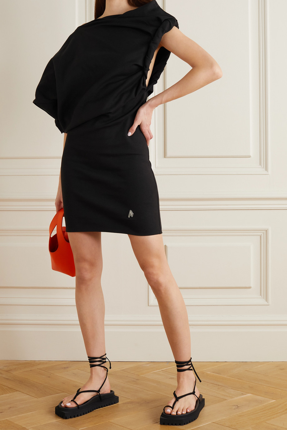 THE ATTICO Asymmetric draped cotton-jersey mini dress