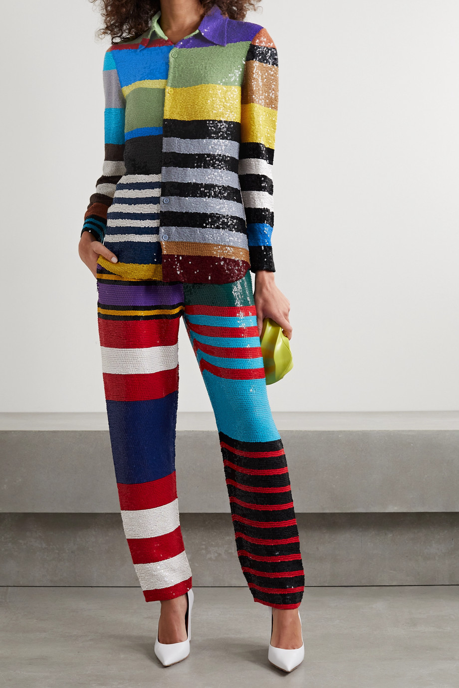 ASHISH Striped sequined georgette shirt