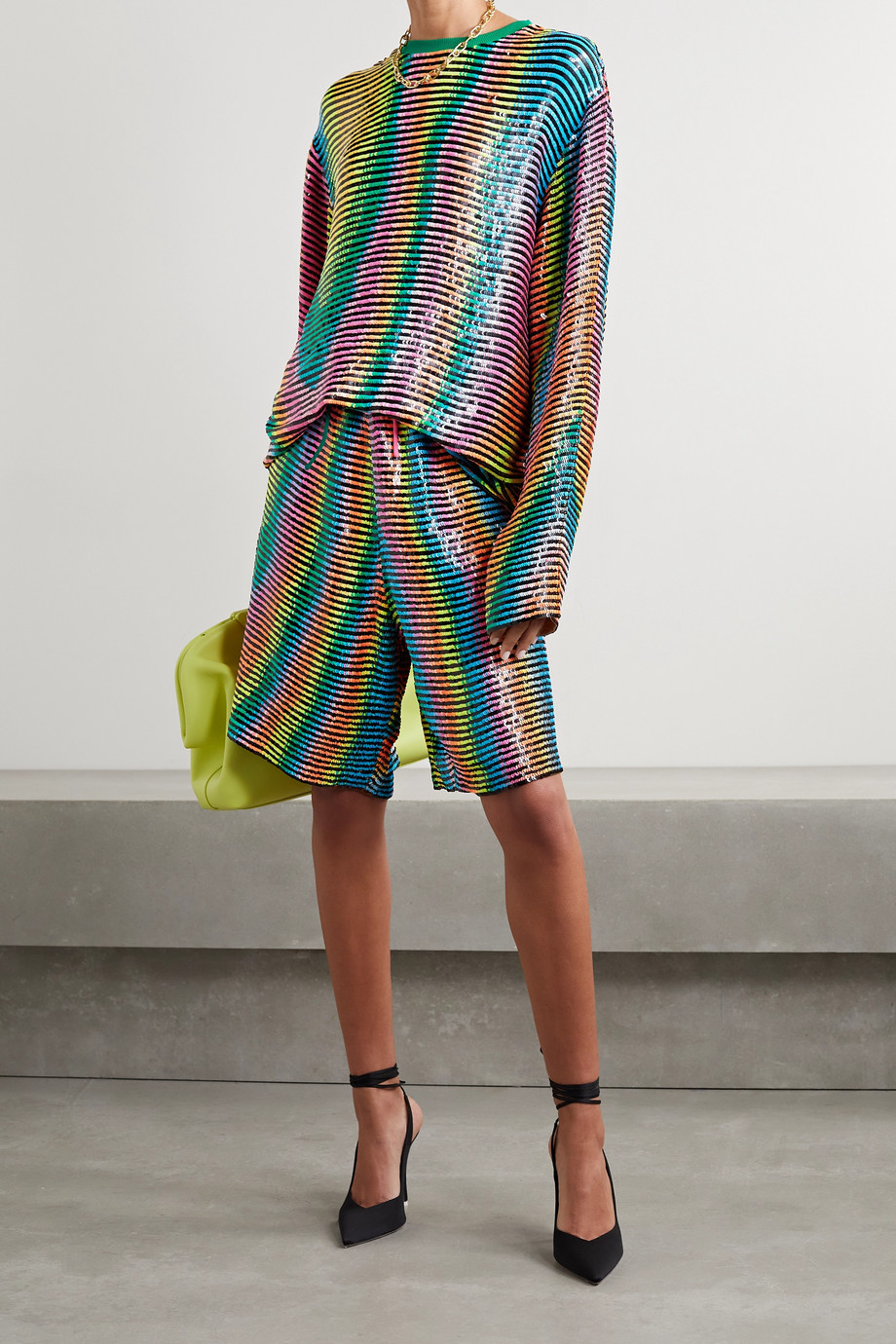 ASHISH Striped sequined georgette shorts