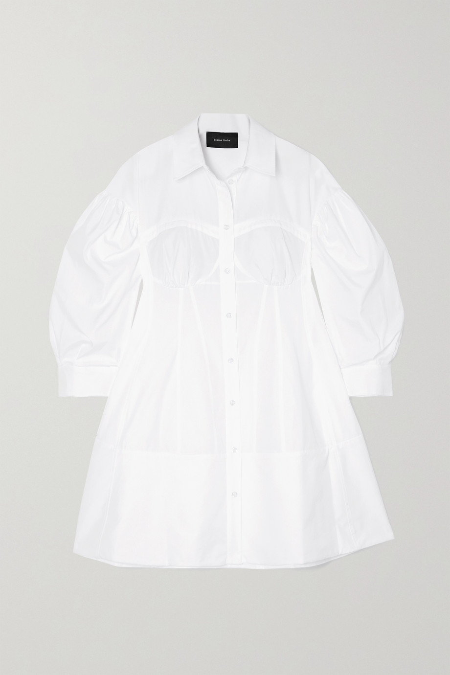 SIMONE ROCHA Corset cotton-poplin mini shirt dress