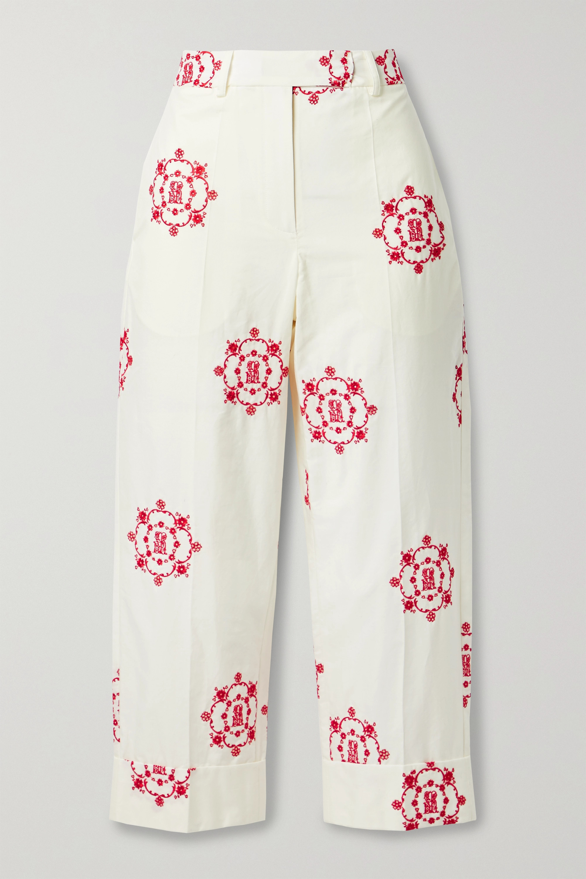SIMONE ROCHA Cropped embroidered cotton-poplin straight-leg pants