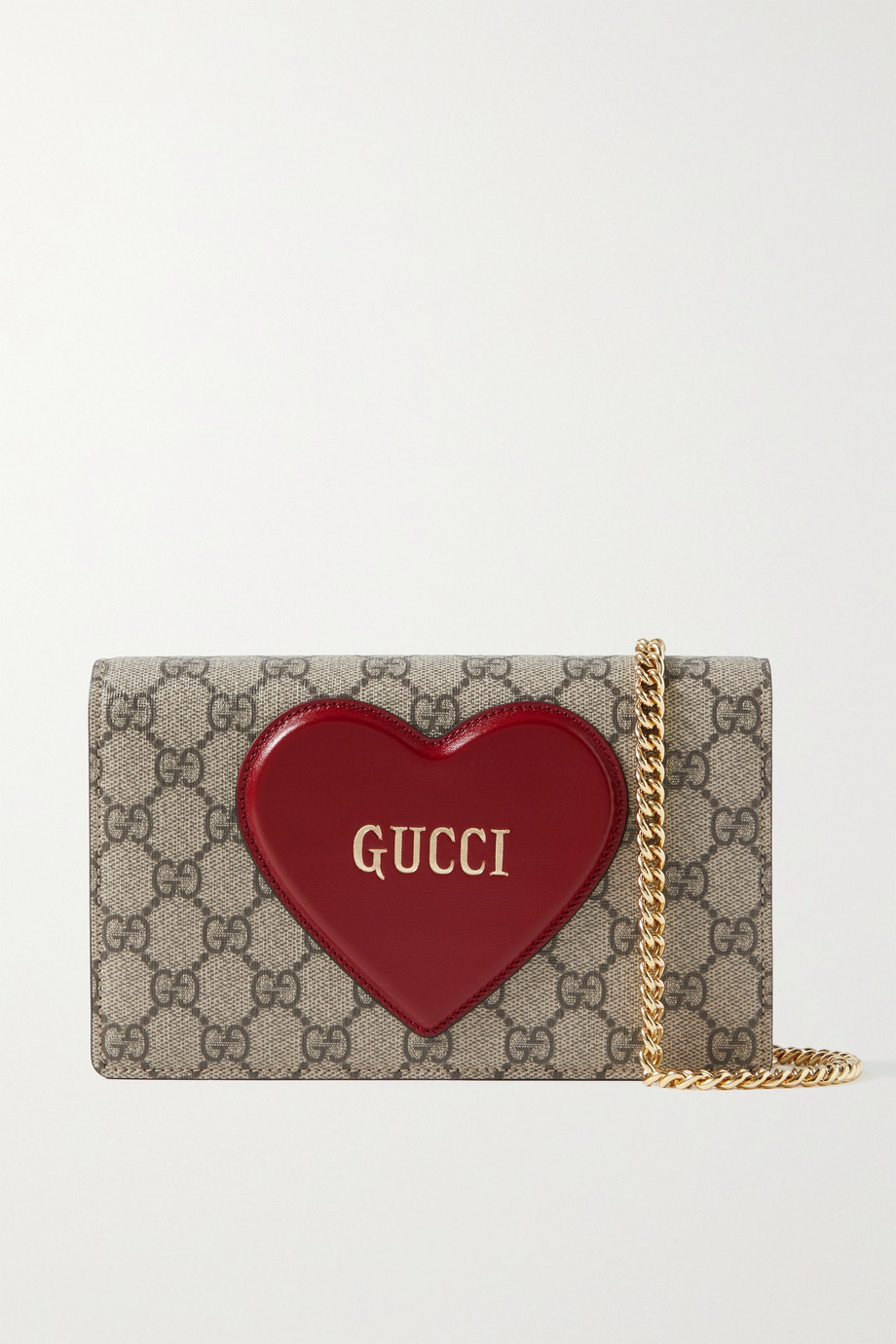 GUCCI Printed coated-canvas and glossed-leather shoulder bag
