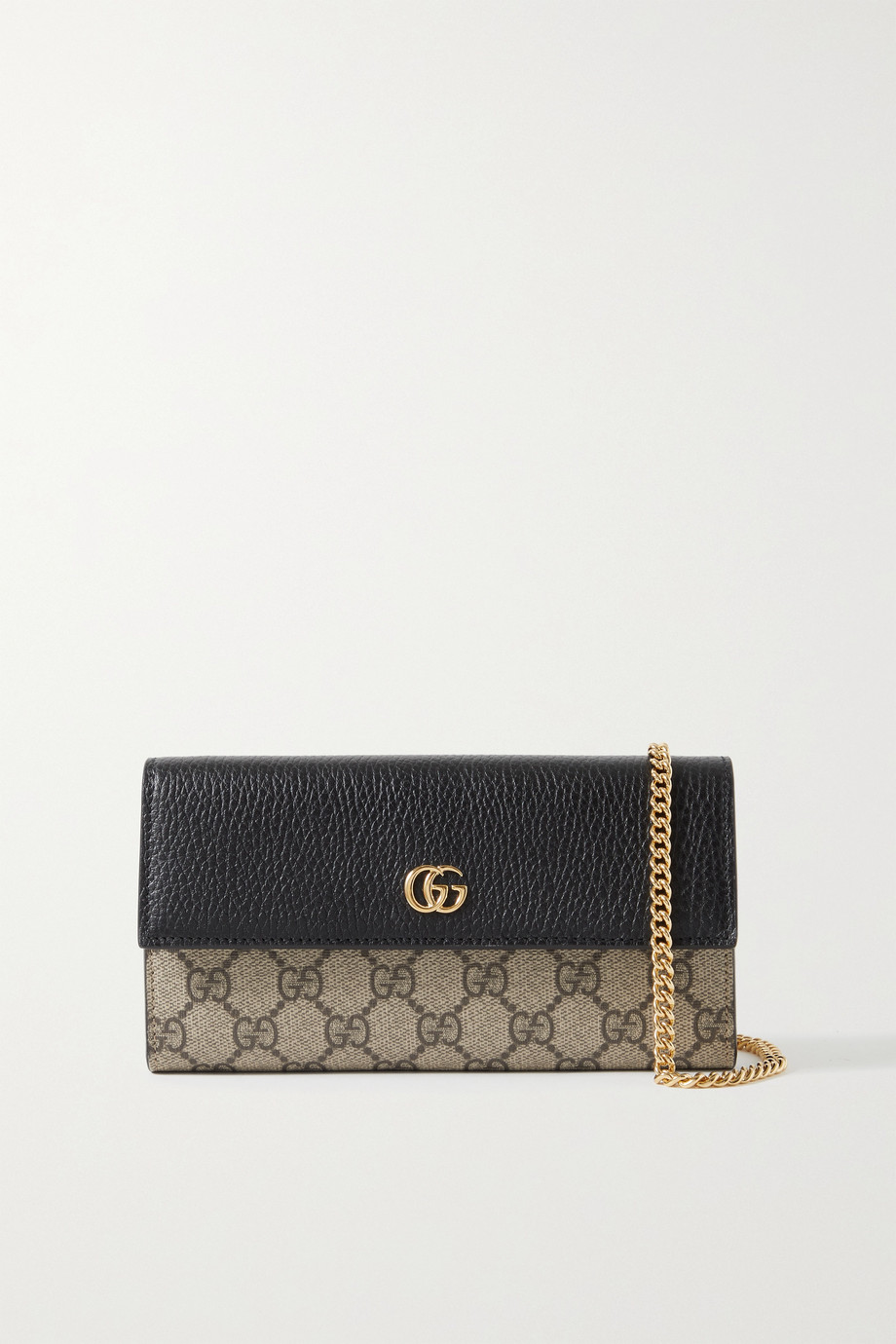 GUCCI GG Marmont Petite textured-leather and printed coated-canvas shoulder bag
