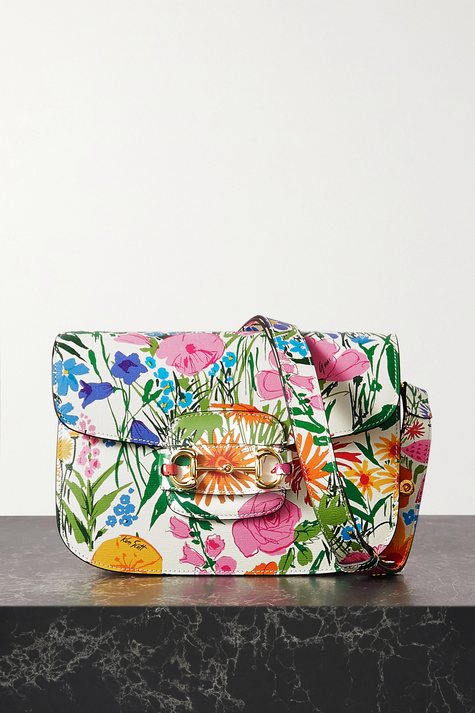 GUCCI + Ken Scott 1955 horsebit-detailed floral-print leather shoulder bag