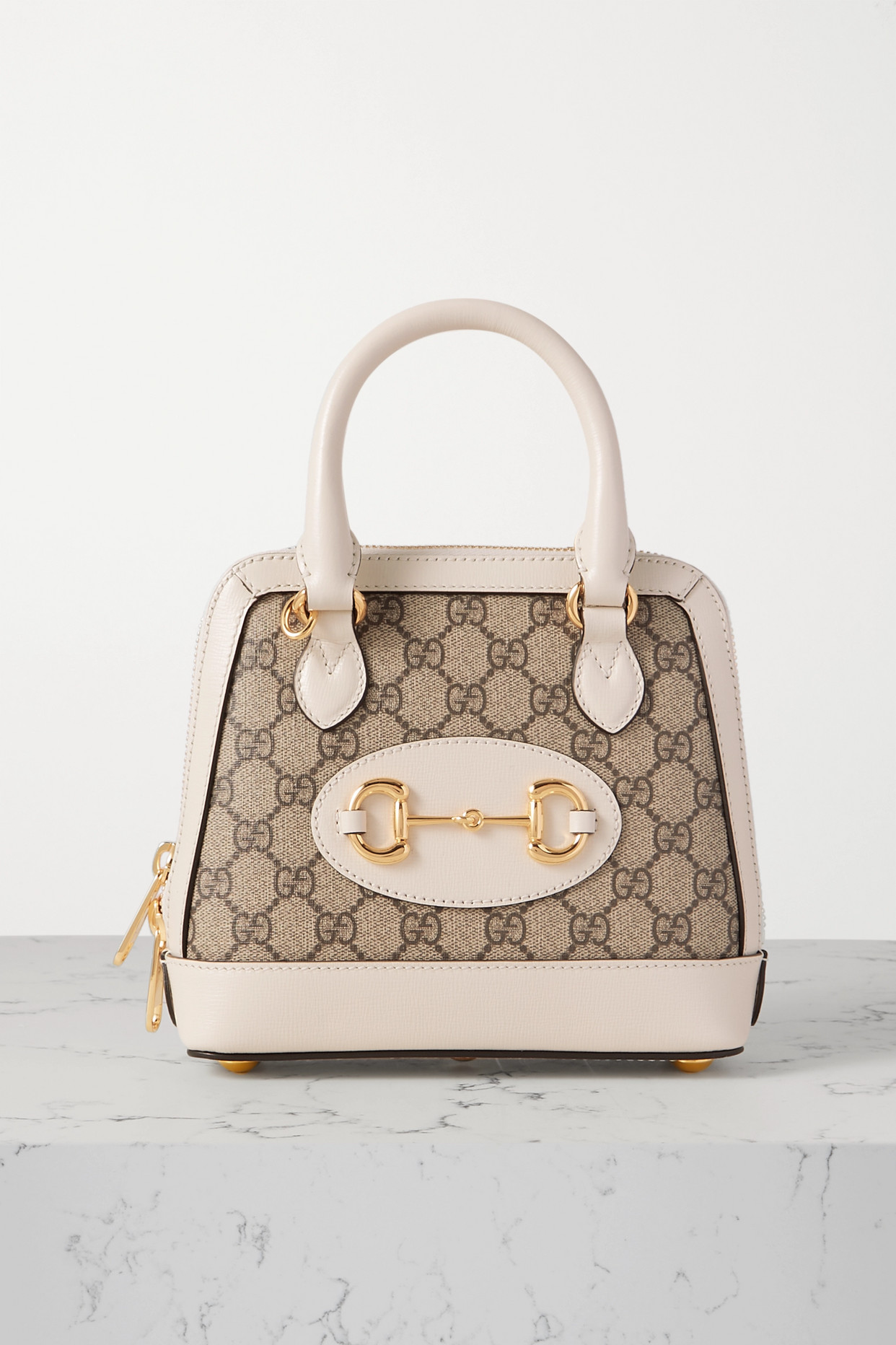 GUCCI - Horsebit 1955 Mini Leather-trimmed Printed Coated-canvas Tote - Ivory - one size