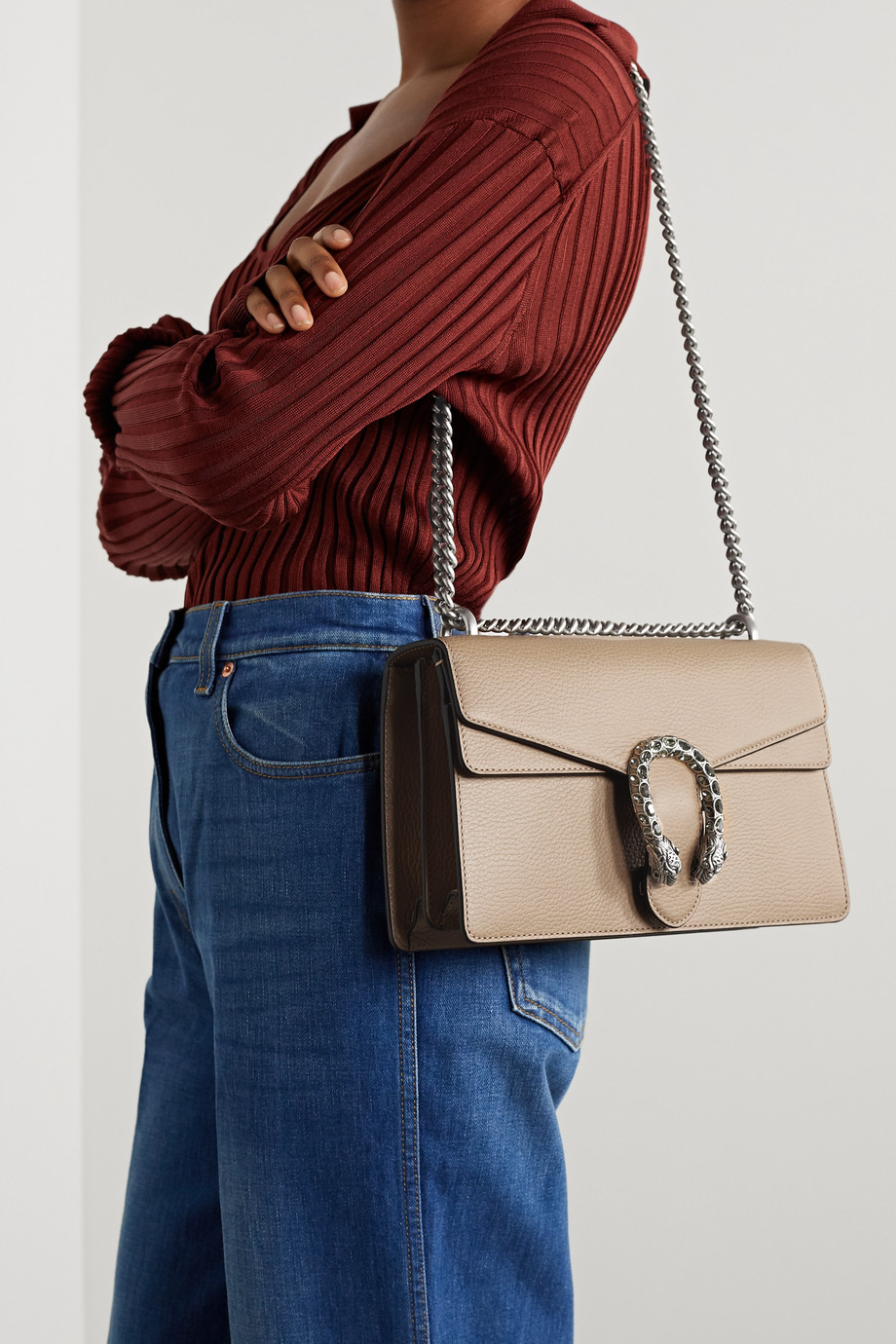 GUCCI + NET SUSTAIN Dionysus small textured-leather shoulder bag