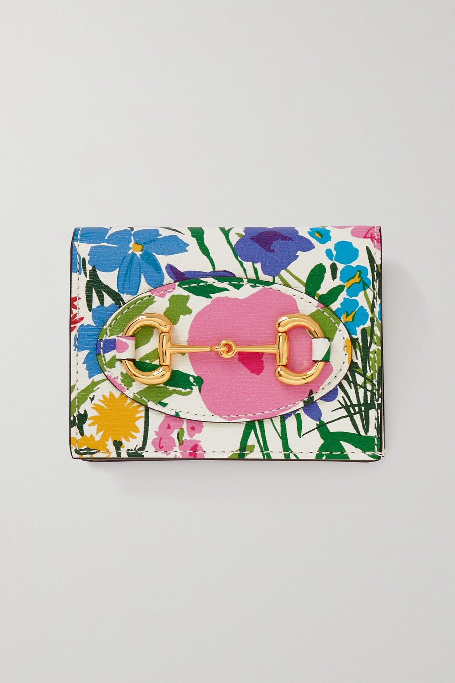 GUCCI + Ken Scott 1955 horsebit-detailed floral-print textured-leather wallet