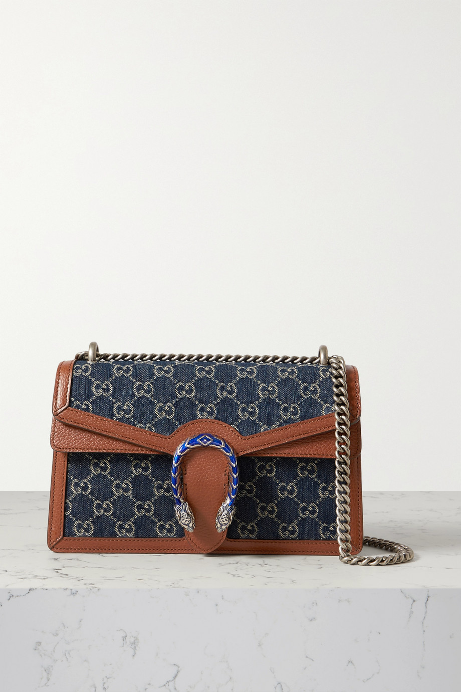 GUCCI + NET SUSTAIN Dionysus small leather-trimmed organic denim shoulder bag