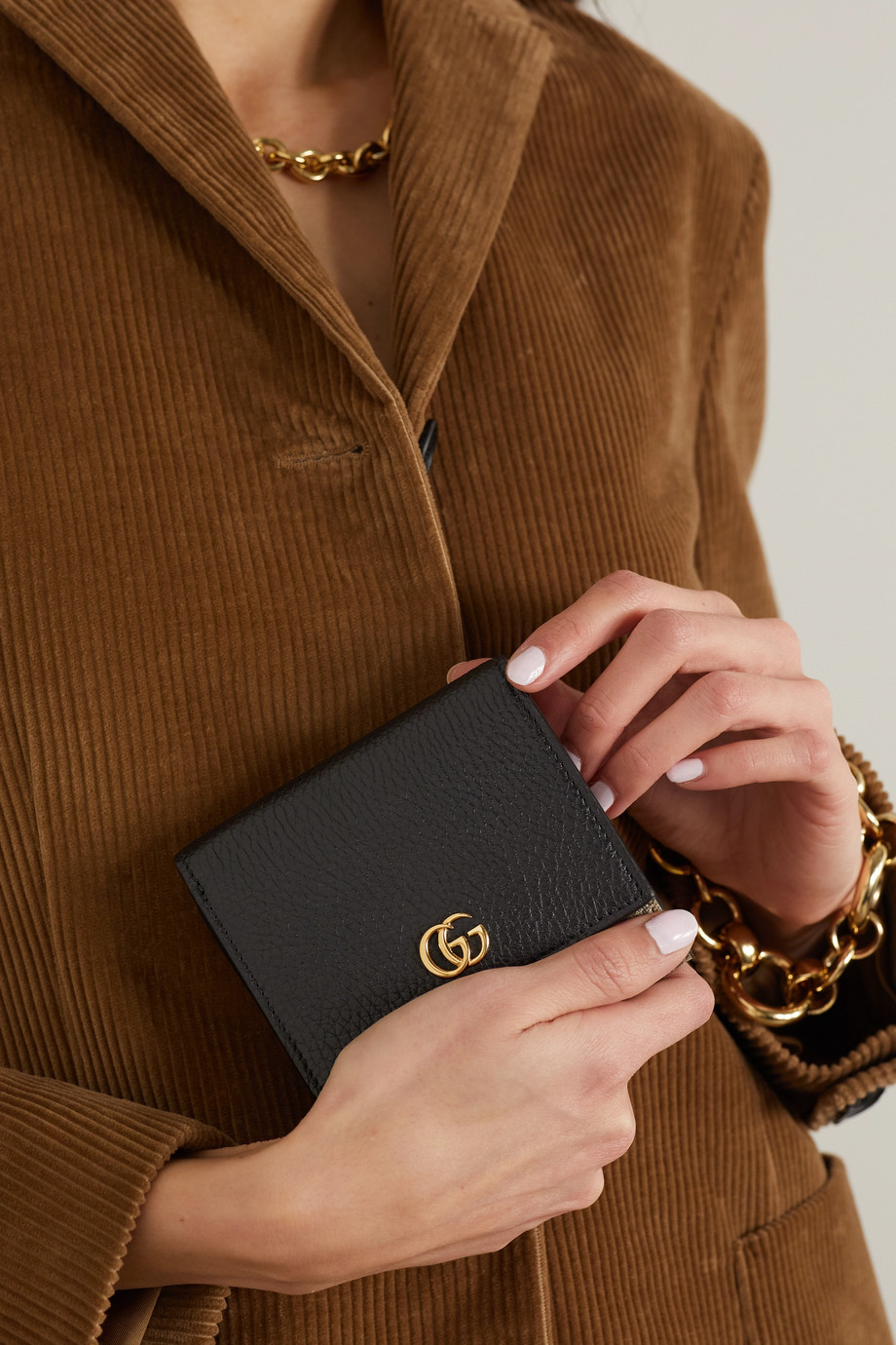 GUCCI + NET SUSTAIN GG Marmont Petite medium textured-leather and printed coated-canvas wallet
