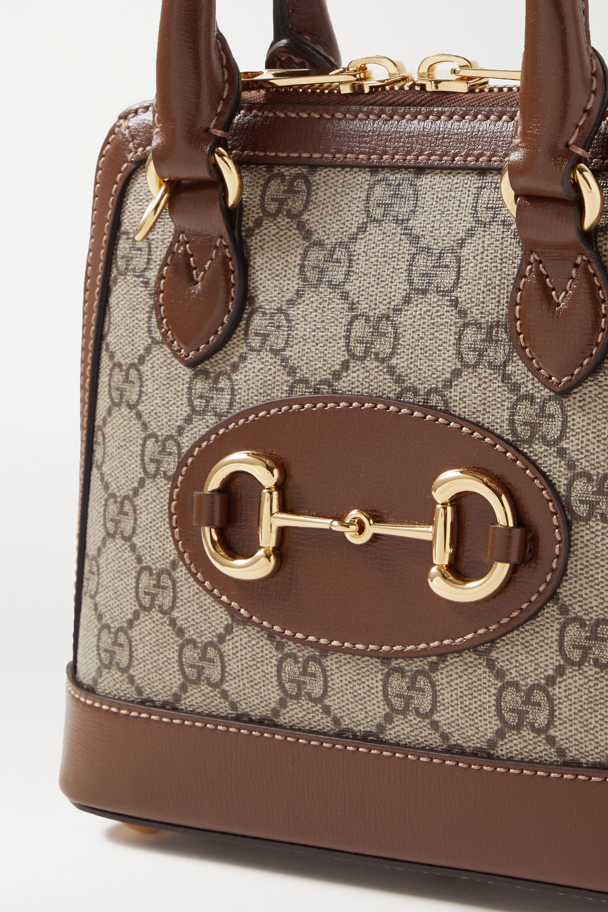 GUCCI 1955 Horsebit mini leather-trimmed printed coated-canvas tote