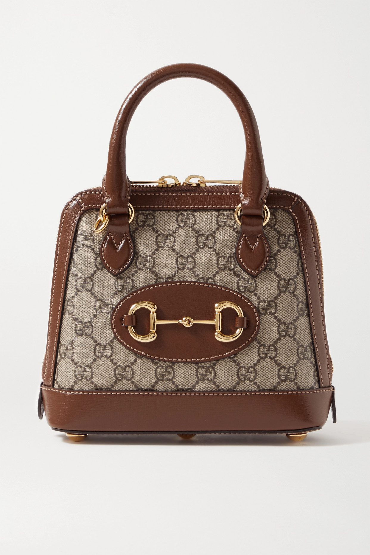 GUCCI - Horsebit 1955 Mini Leather-trimmed Printed Coated-canvas Tote - Neutrals - one size