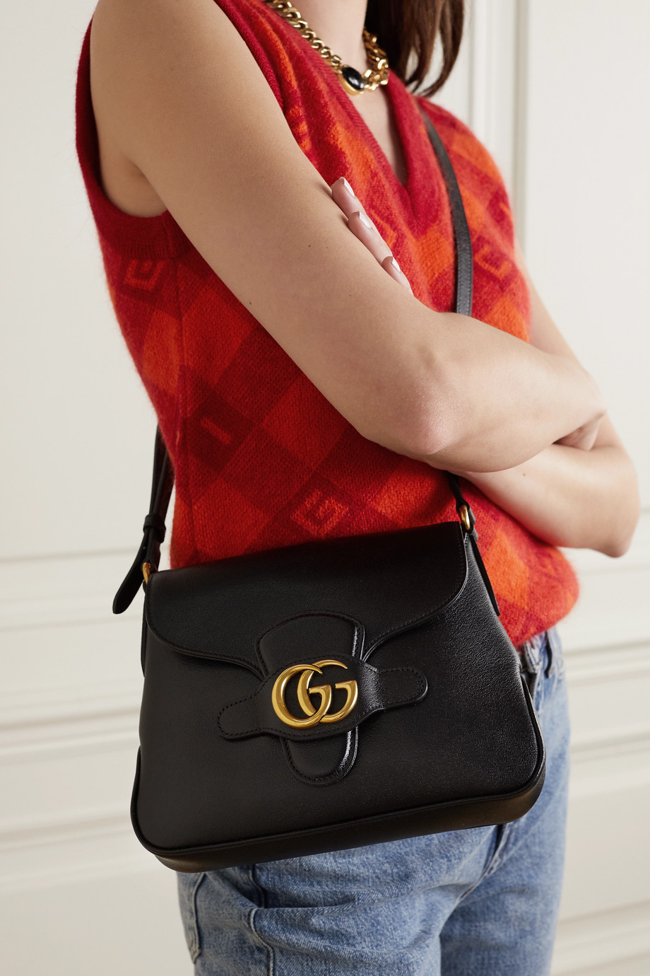 GUCCI + NET SUSTAIN Dahlia textured-leather shoulder bag