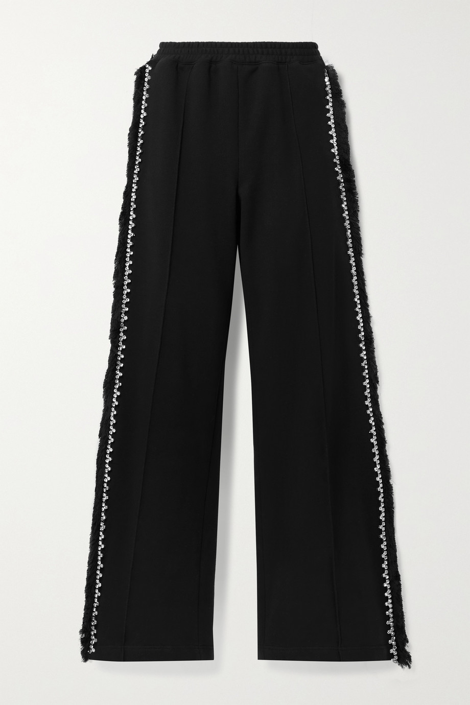AREA Crystal-embellished fringed cotton-jersey track pants