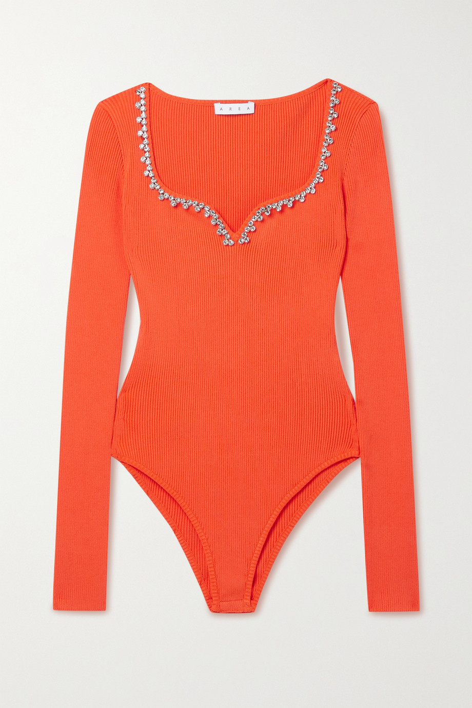 AREA Crystal-embellished ribbed stretch-knit bodysuit