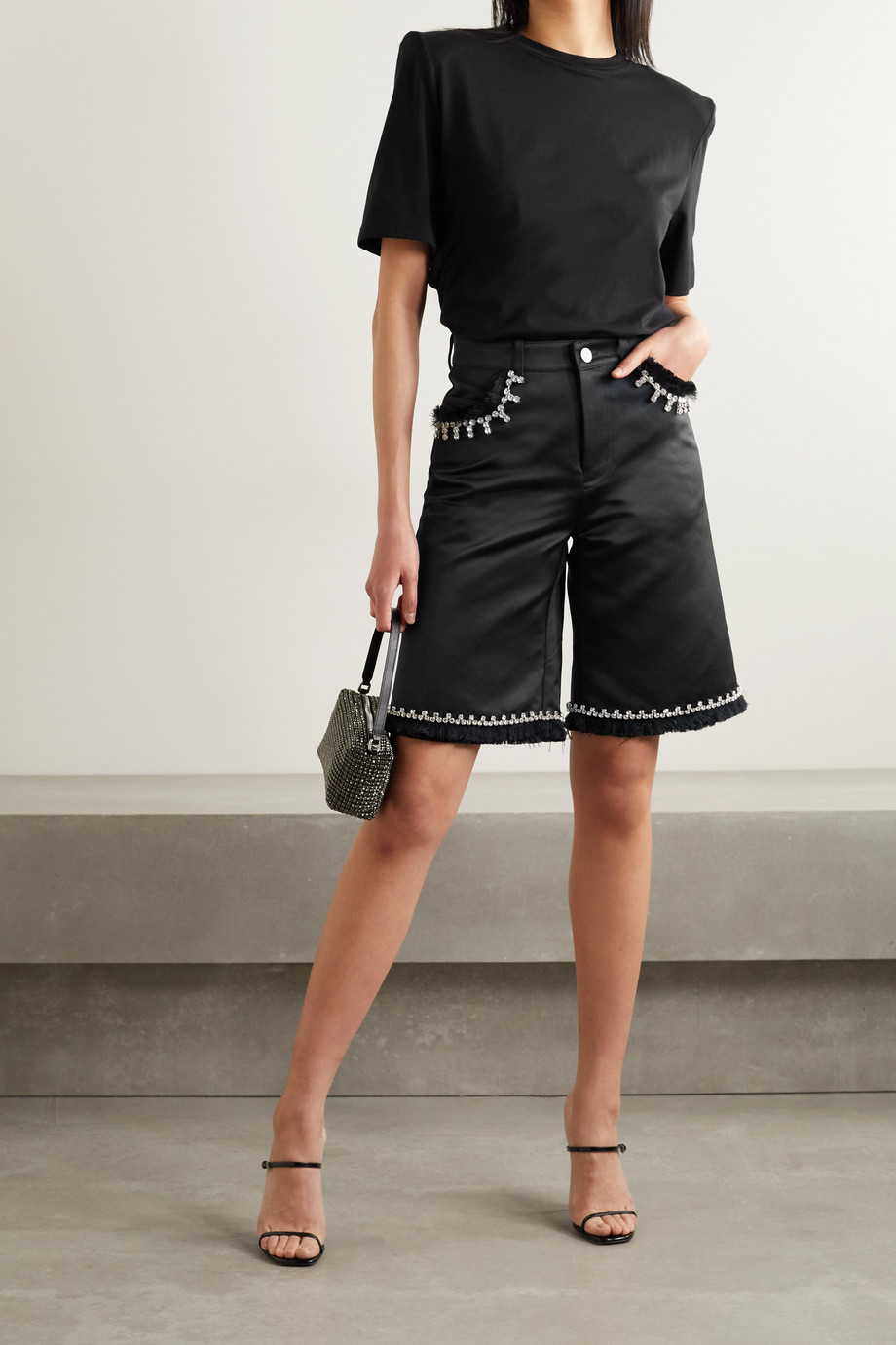 AREA Frayed crystal-embellished satin shorts