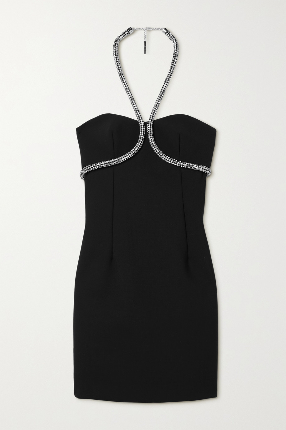 AREA Crystal-embellished piqué halterneck mini dress