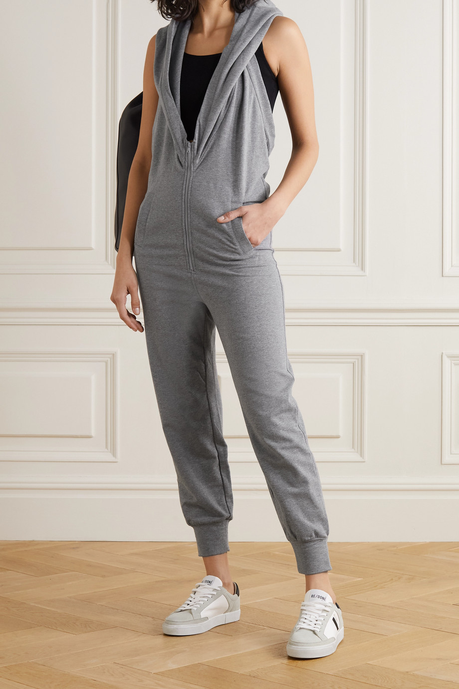 NORMA KAMALI Jog cropped hooded open-back stretch-jersey jumpsuit