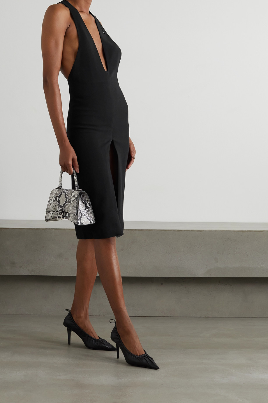 MAXIMILIAN Asymmetric cutout crepe dress