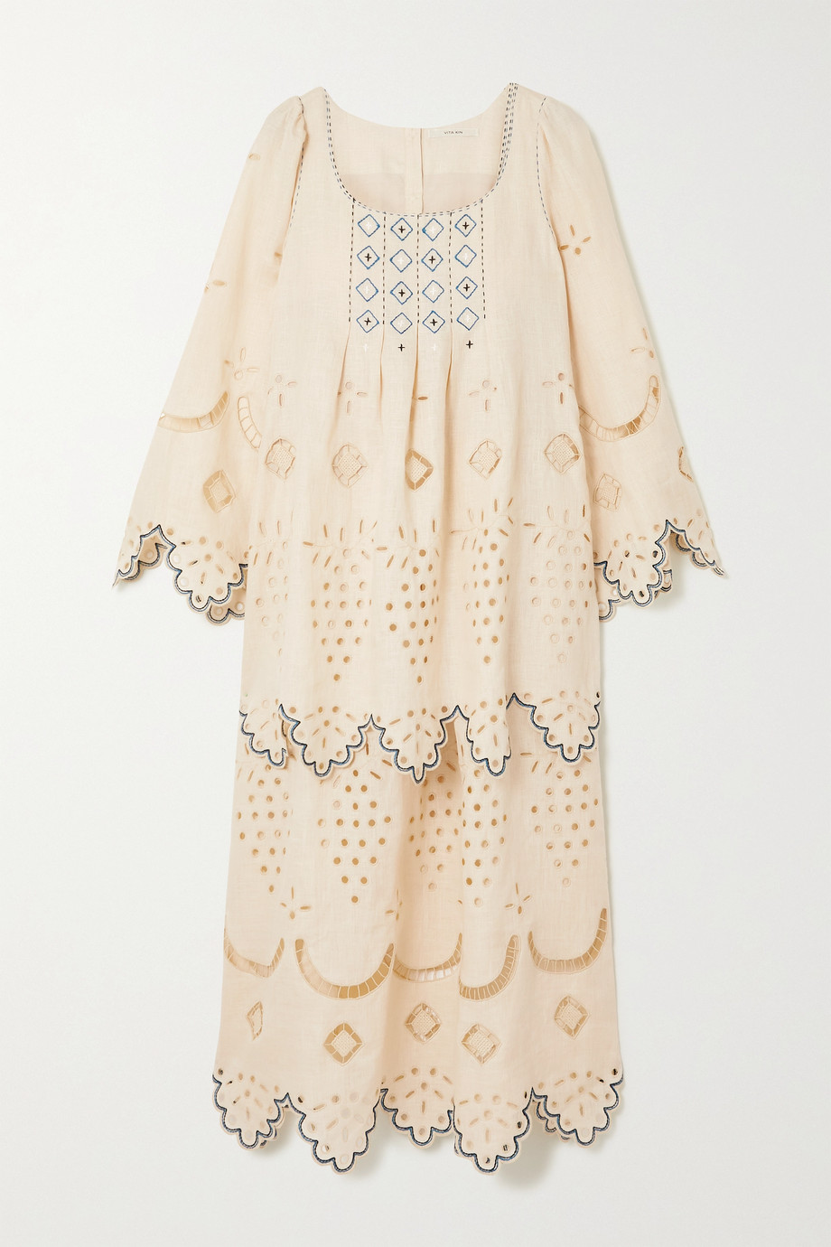VITA KIN Florence embroidered broderie anglaise linen midi dress