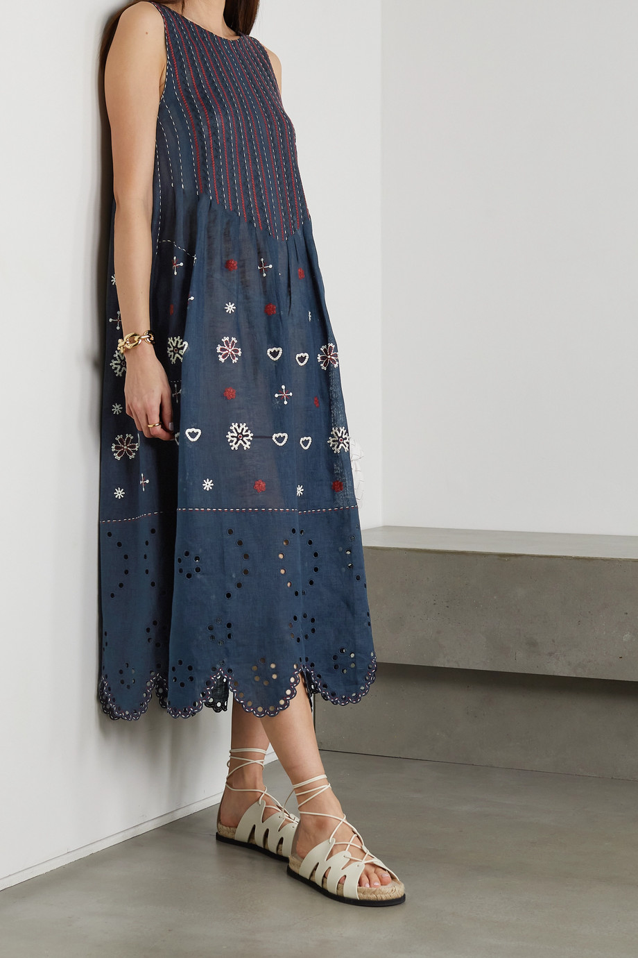 VITA KIN Jackie embroidered broderie anglaise linen midi dress
