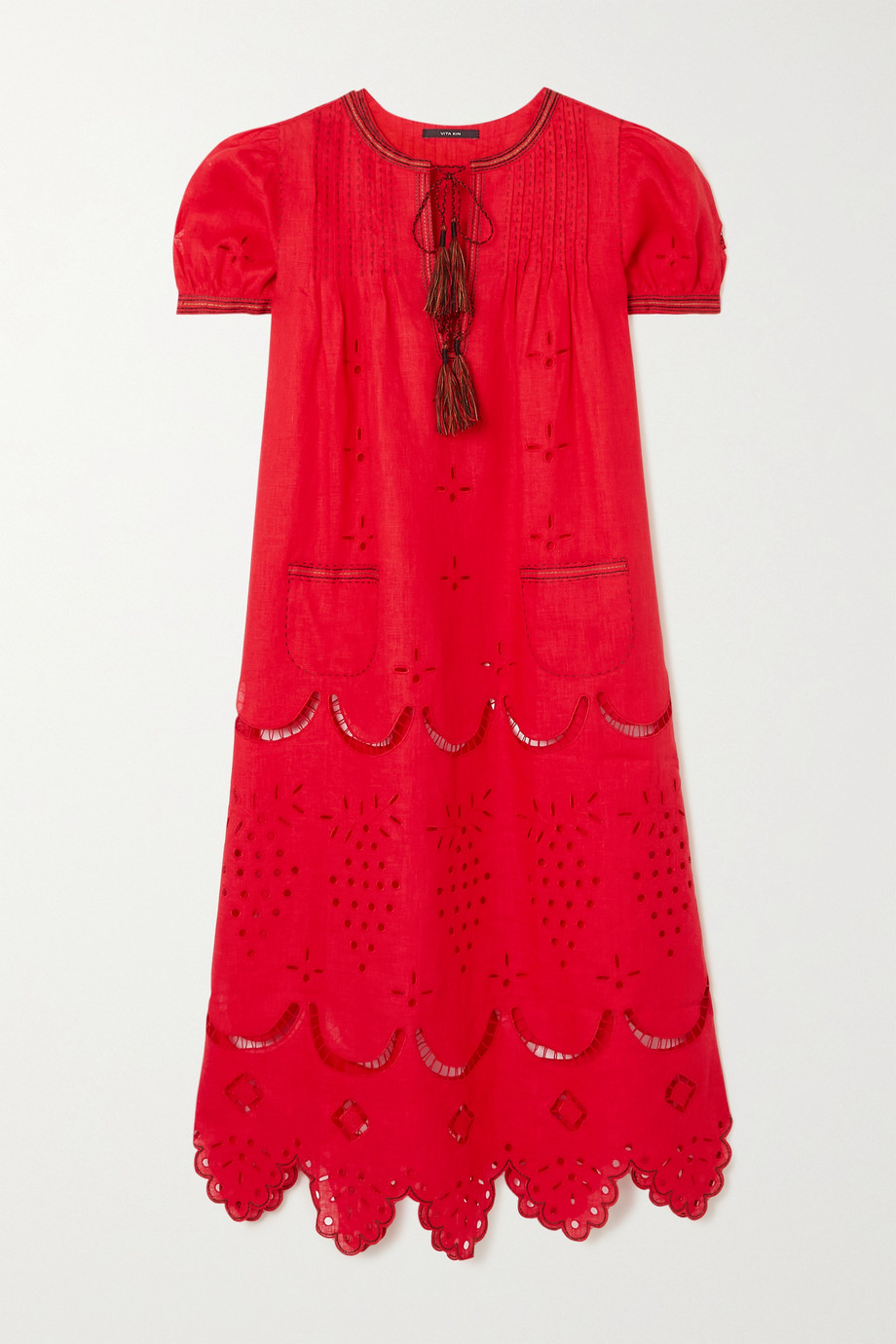 VITA KIN Veronica tasseled embroidered broderie anglaise linen midi dress