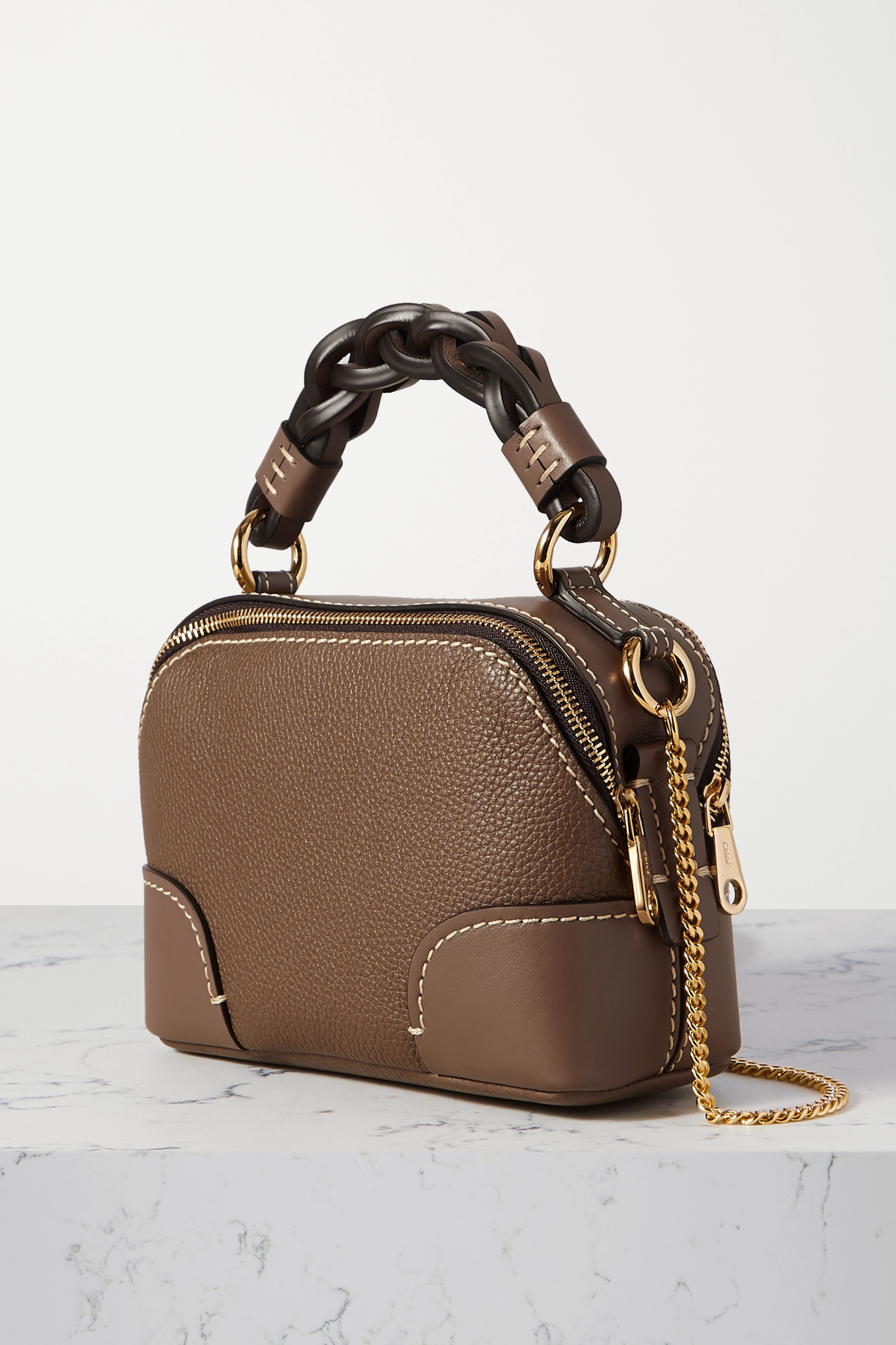 CHLOÉ Daria mini textured and smooth leather tote