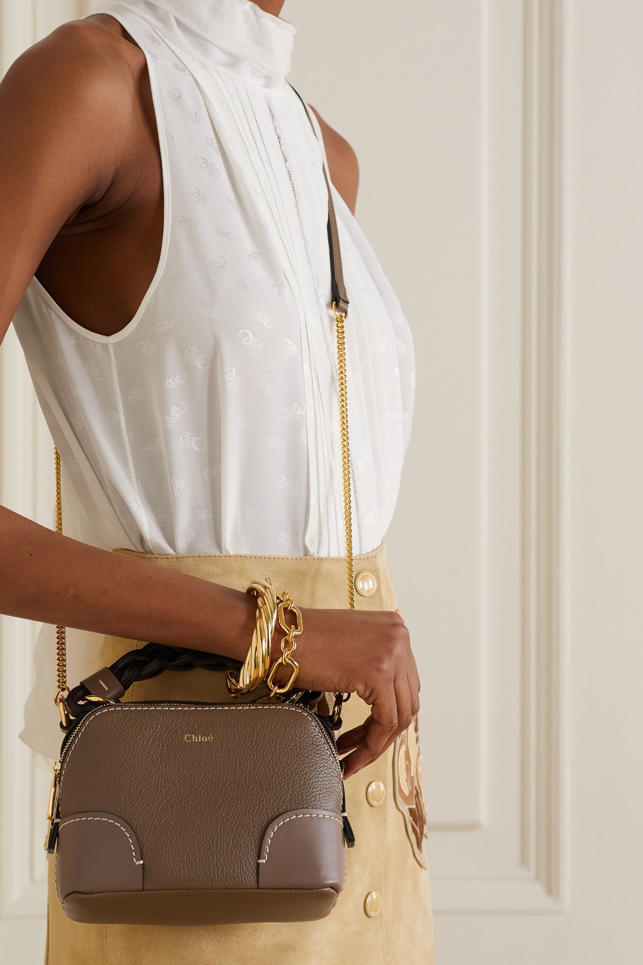 CHLOÉ Daria mini textured and smooth leather shoulder bag