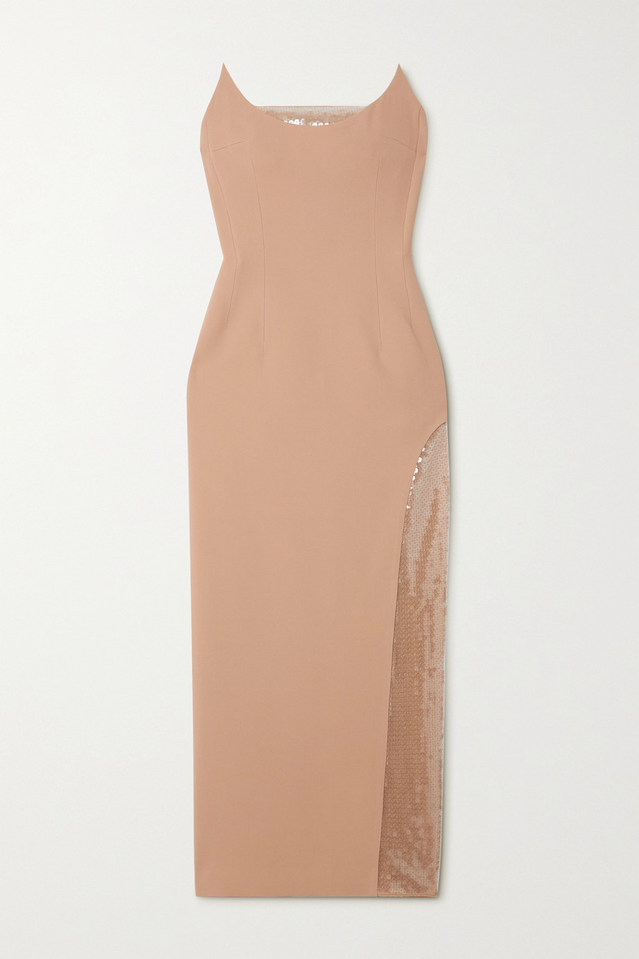 DAVID KOMA Strapless sequined tulle-trimmed cady gown