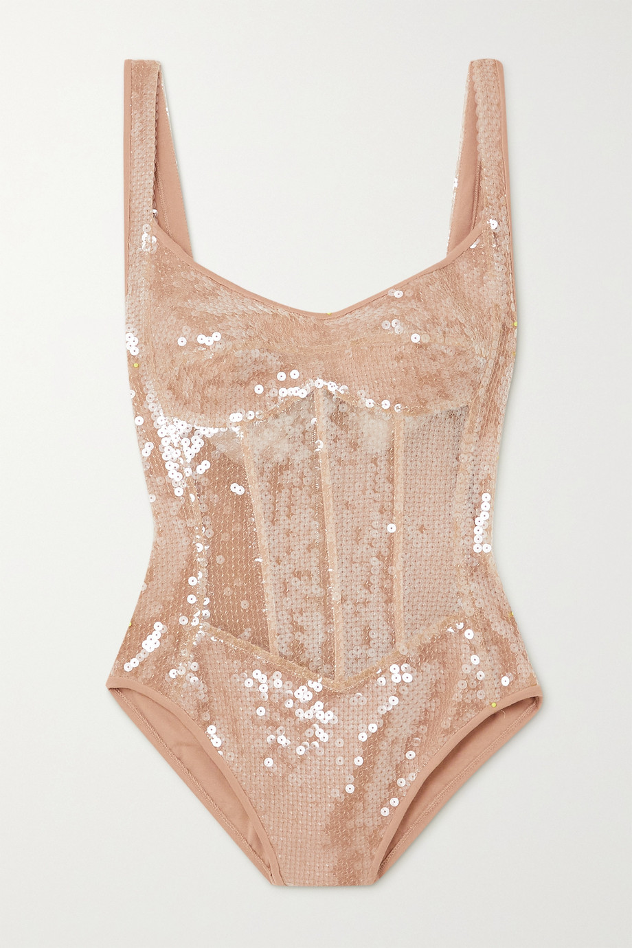 DAVID KOMA Sequined tulle and jersey bodysuit