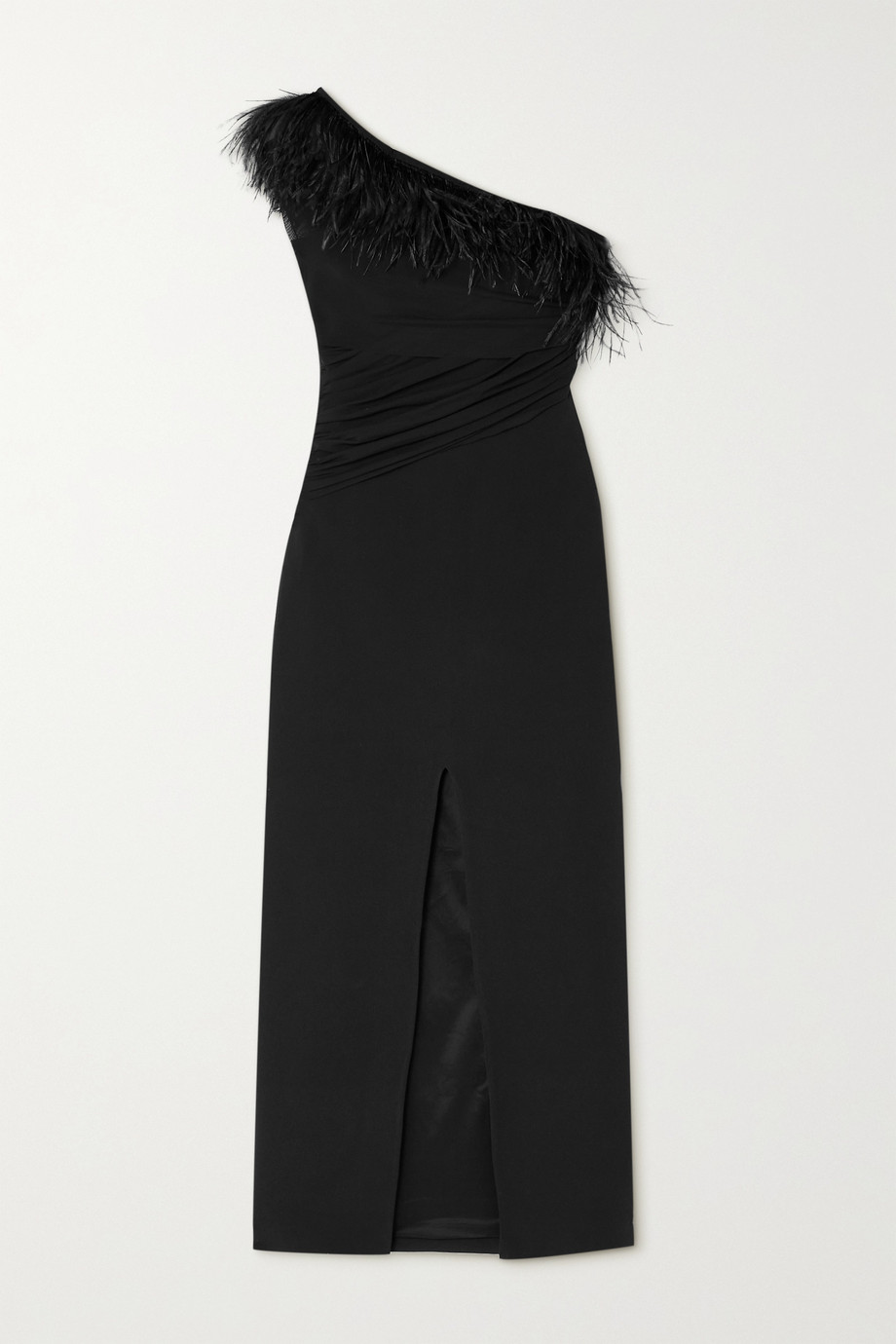 DAVID KOMA Draped feather and tulle-trimmed cady midi dress