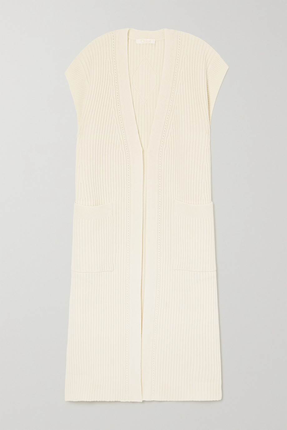 CHLOÉ Ribbed wool and silk-blend cardigan